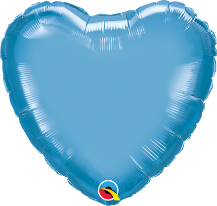 Heart Shaped Blue Chrome Foil Helium Balloon